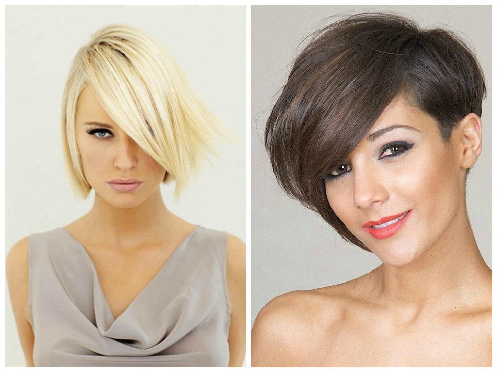 асимметричная стрижка для средних волос