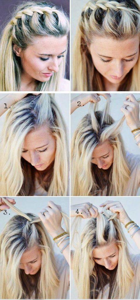 французская коса на распущенных волосах