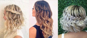 Коса «Водопад» на волосах средней длины