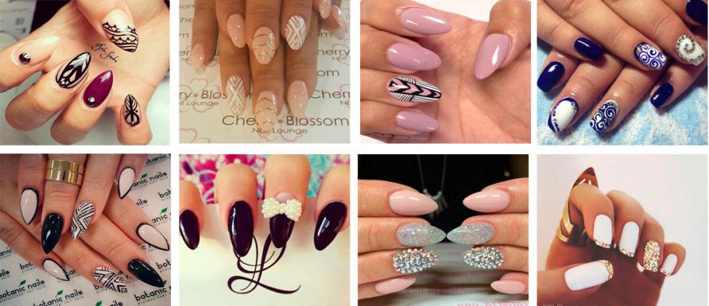 дизайны шеллака для средних и длинных ногтей