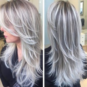 пепельный блонд на длинные волосы фото