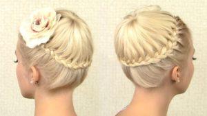 прическа корзиночка на средние волосы