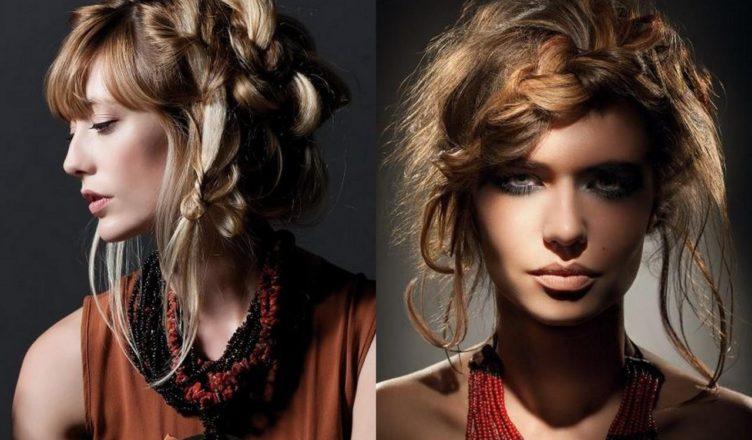 прически для волос средней длины