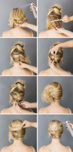 вечерняя прическа для волос средней длины