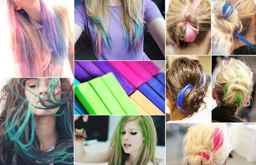метод покраски волос мелками