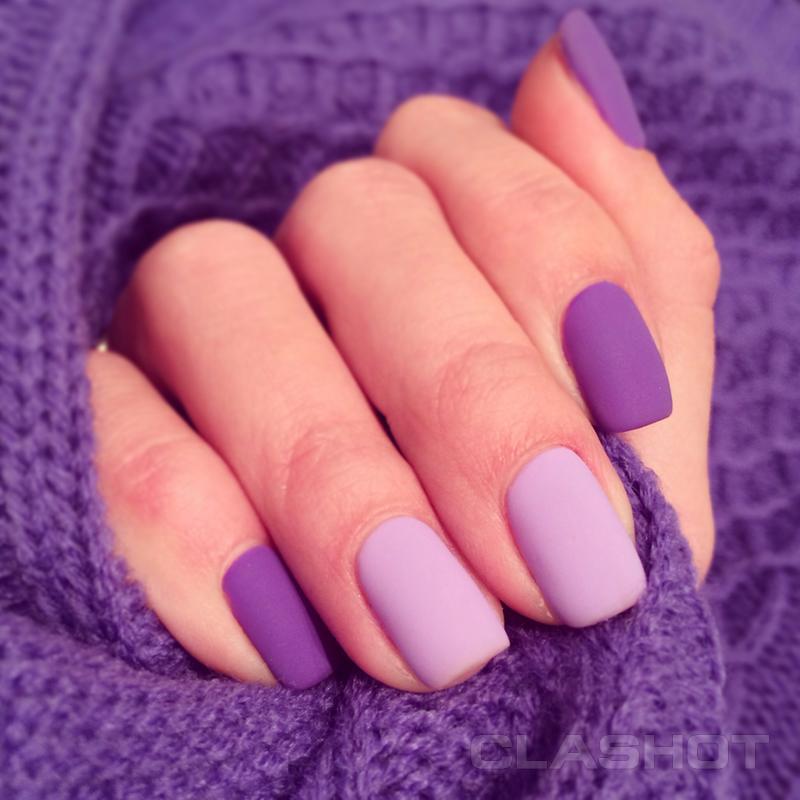 Фиолетовые матовые ногти