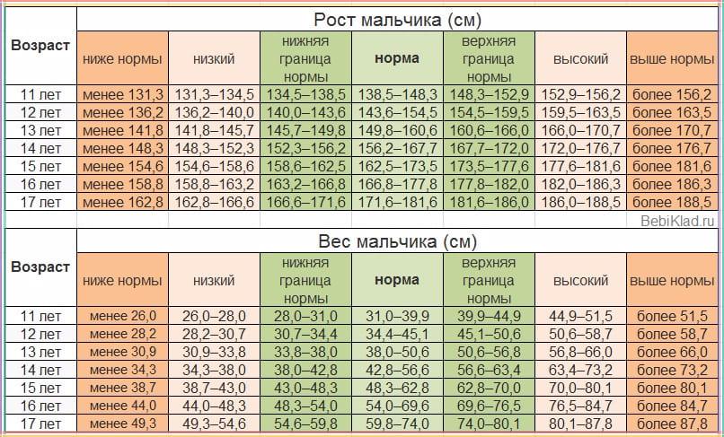 Соответствие роста, веса и возраста мальчика до 17 лет